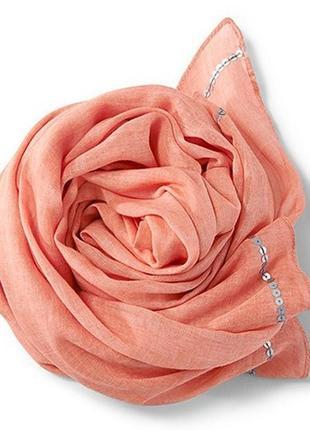 Легкий воздушный шарф палантин tchibo, германия - 95*160, 100% хлопок