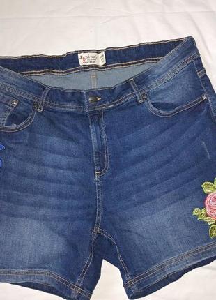Классные джинсовые шорты с вышивкой,р-р евро 46,наш 54,janina