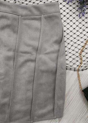 ❤️розпродаж sale до 7.07❤️ замшевая мини юбка со складками4 фото