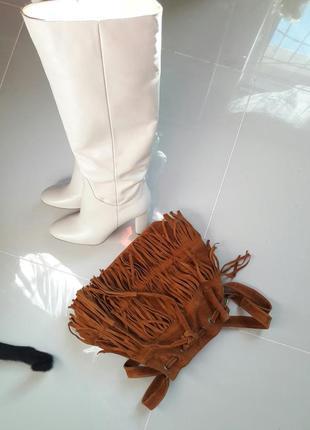 Сумка мешок с бахромой бохо