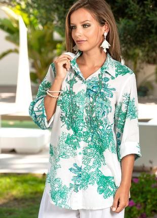 Новинки 2019 пляжная туника рубашка из хлопка с бисером код 1115