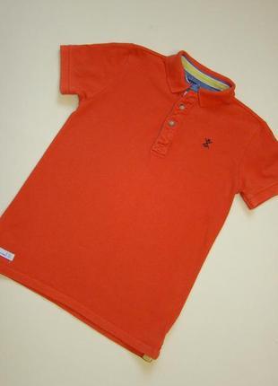 Шикарная оранжевая футболка поло next 11-13 лет