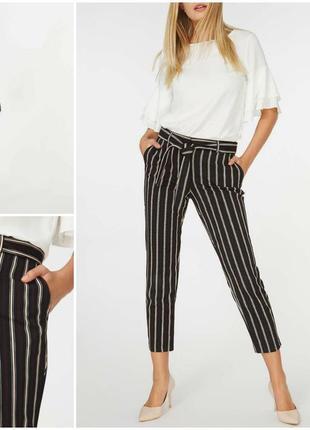 Модные зауженные укороченные брюки в полоску