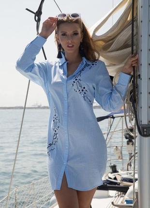 Новинки 2019 пляжная полосатая туника рубашка с вышивкой индиано код 1253