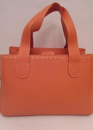 Borse in pelle! италия! эффектная кожаная сумка тоут красивого  апельсинового цвета 1f724fa50fa84