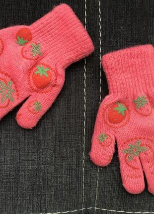 Теплые детские перчатки 3-4 года двойные