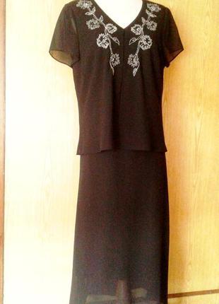 Черное шифоновое платье- двойка, xl- 2xl.