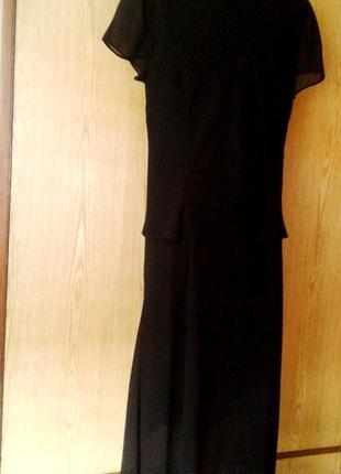 Черное шифоновое платье- двойка, xl- 2xl.5 фото