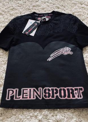 Футболка черная роовая спортивная philipp plein plein sport оригинал хлопок с надписями