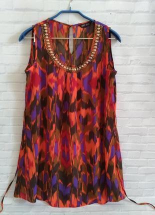 Воздушное яркое платье туника new look uk10/eur38