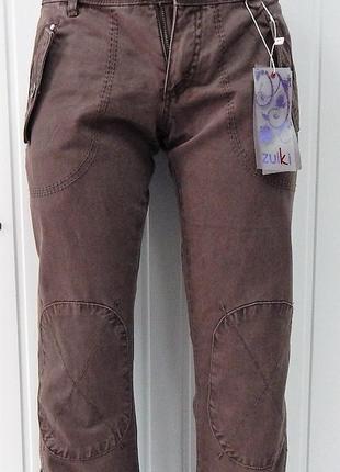Джинсы-джоггеры женские коричневые zuiki