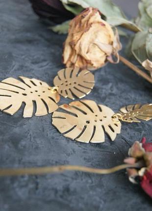Серьги монстера сережки тропические тропик листья