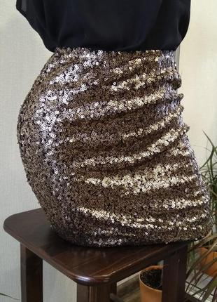 Юбка юбочка яркая красивая блестящая паетки классика вечернее