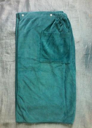 Мужской  халат-полотенце на кнопках, резинке,с карманом, сауна баня