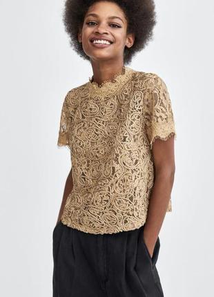 Красивый кружевной топ , блуза, кофточка, футболка с кружевом zara с