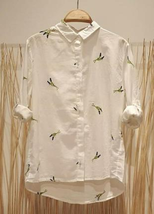 Рубашка из батиста синие цветы