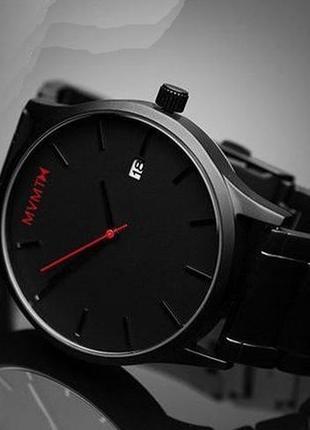 Ексклюзивний годинник чоловічий mvmt чорний (часы мужские) металевий браслет