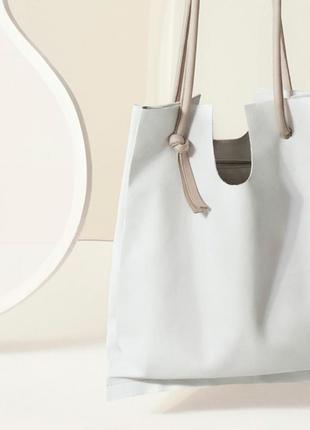 Кожаная светлая сумка-шоппер от cos-оригинал 100%