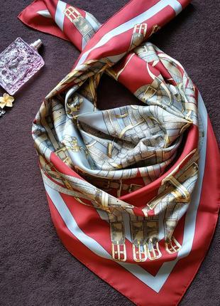 Новый брендовый шелковый платок от hermes sellier paris красной расцветки