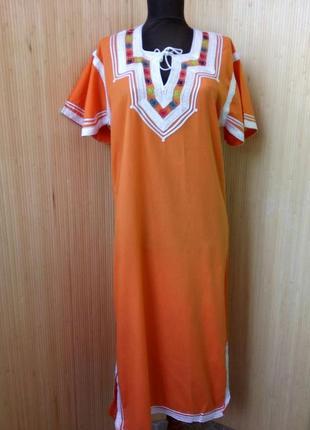 Марокканскре длинное платье туника с вышивкой / джеллаба / галабея