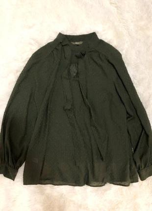 Красивая блуза цвета хаки с фактурным горошком next р. xxl