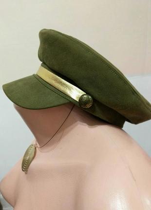 Стильная трендовая женская кепи цвета хаки .капитанка. фуражка. женская кепка.