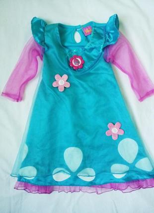 Платье розочки тролли trolls 104 см