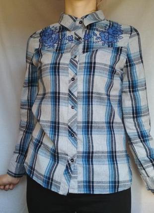 Рубашка в клетку с вышивкой primark