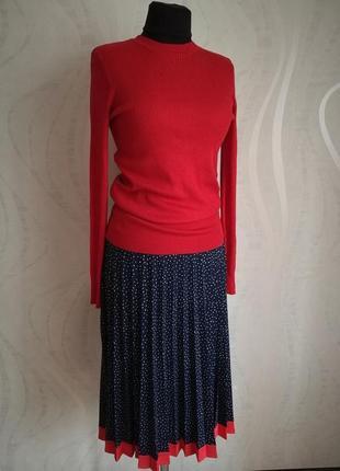 Обалденная женственная юбка миди плиссе в горох