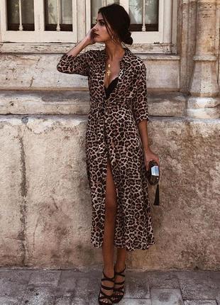 Леопардовое макси платье zara