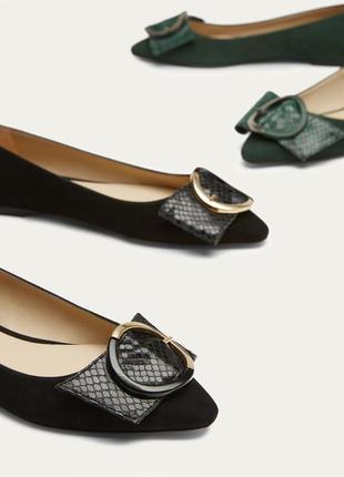 Замшевые туфли, черные балетки massimo dutti