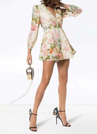 Модный ромпер комбинезон принт цветы бренд 2019