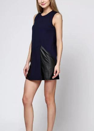 Сукня зі шкіряними вставками-кишенями