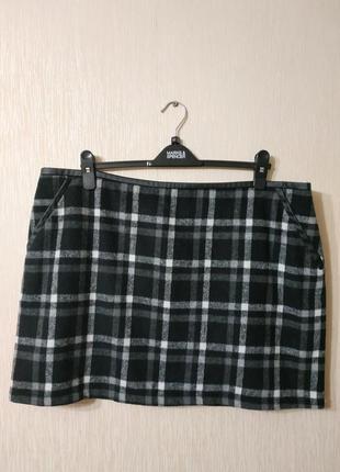 Мягкая теплая черная юбка в клетку большого размера select размер 18
