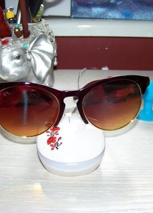 Солнцезащитные очки антиблик полуободковые вишневая оправа золото-красное зеркало италия