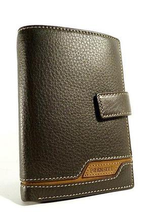 Кошелек мужской кожаный коричневый карты, монеты, права