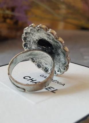 Кольцо черное граненое бохо богемный винтажный ретро стиль овальное круглое камень7
