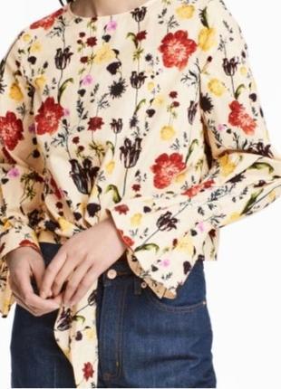 Блуза укороченная с цветочным принтом h&m p 10