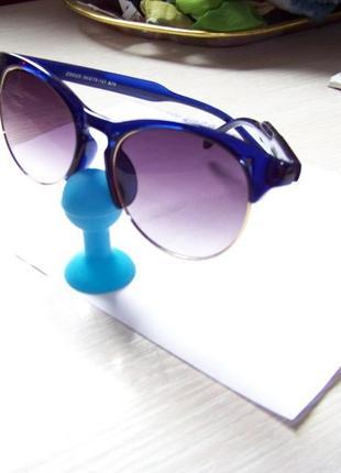 Солнцезащитные очки антиблик полуободковые синяя оправа серо-дымчатая линза италия2 фото