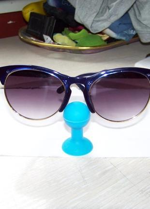 Солнцезащитные очки антиблик полуободковые синяя оправа серо-дымчатая линза италия