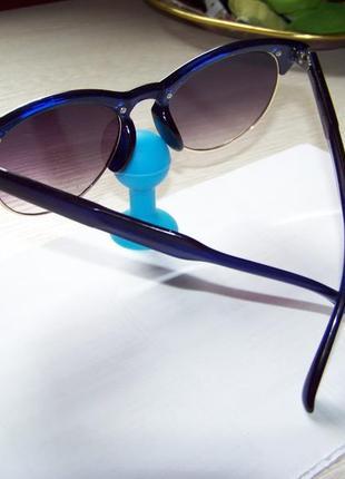 Солнцезащитные очки антиблик полуободковые синяя оправа серо-дымчатая линза италия5 фото
