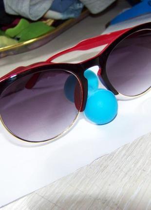 Солнцезащитные очки антиблик полуободковые черно-красная оправа серо-дымчатая линза италия3 фото