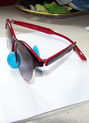 Солнцезащитные очки антиблик полуободковые черно-красная оправа серо-дымчатая линза италия2 фото