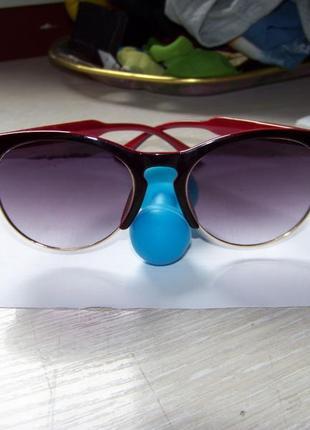 Солнцезащитные очки антиблик полуободковые черно-красная оправа серо-дымчатая линза италия