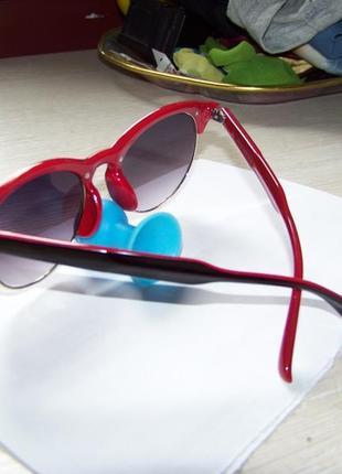 Солнцезащитные очки антиблик полуободковые черно-красная оправа серо-дымчатая линза италия4 фото