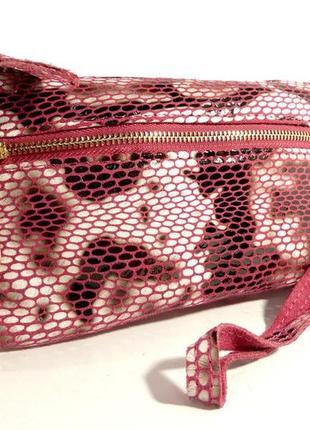 Клатч-кошелек женский кожаный розовый рептилия