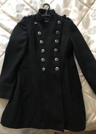 Пальто шерстяное бушлат милитари