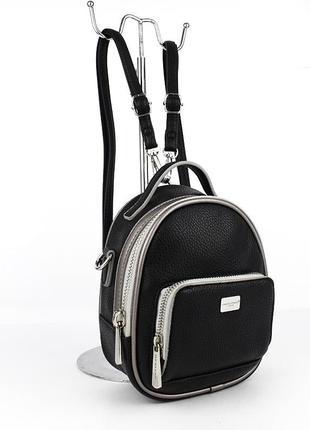 Рюкзак-мини женский городской кожзам черный