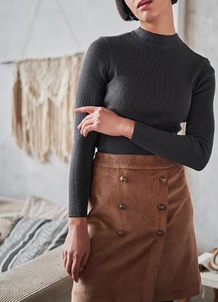 Трендовая вельветовая юбка трапеция