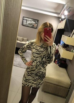 Платье с тигровым принтом mango